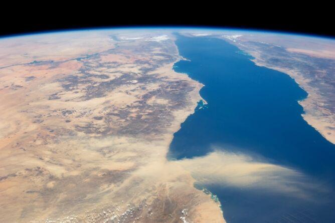 Chmura pyłu przemieszczała się znad południowego Egiptu w kierunku Arabii Saudyjskiej (NASA)