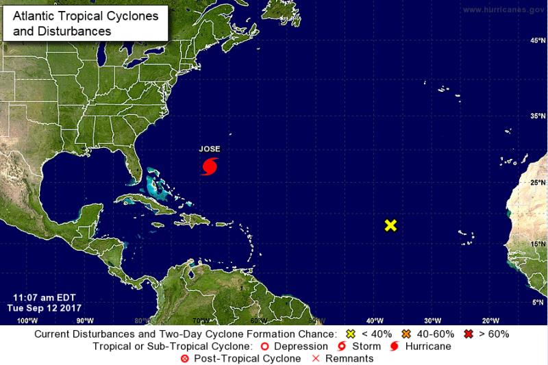 Pozycja huraganu Jose 12 września około godziny 18 polskiego czasu