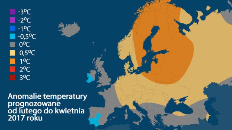 Anomalie temperatury prognozowane od lutego do kwietnia 2017 roku