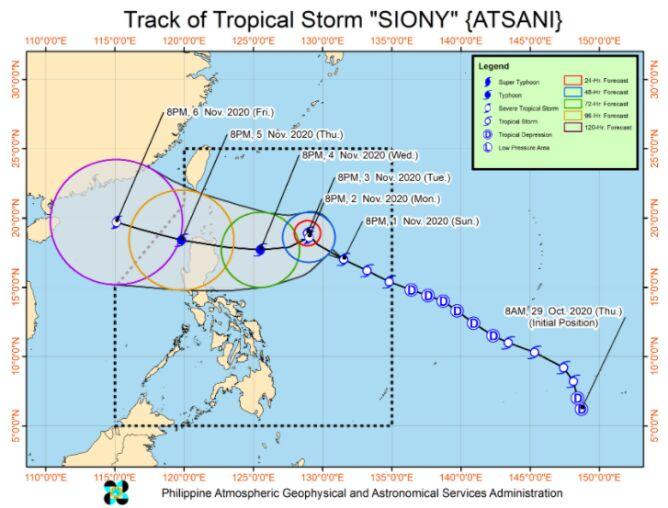 Prognozowana trasa burzy tropikalnej Atsani (PAGASA)
